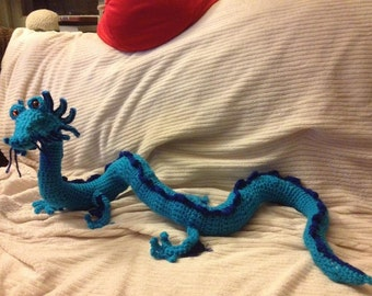 Stuffed Crochet Dragon Custom Made in Your Colors