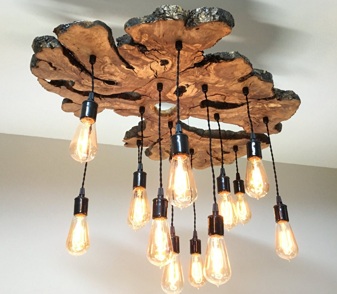 Large live edge olive wood slab chandelier light fixture with zoom arubaitofo Images