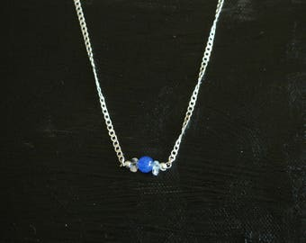 Sterling  Silver chain with Lapis pendant necklace