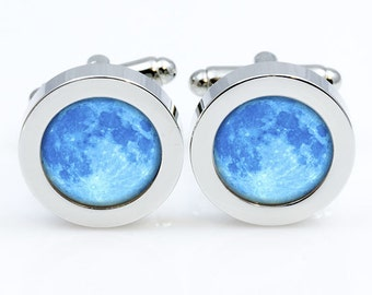 Moon Cuff links  Moon Cuff links men and women Accessories Vintage Antique Old