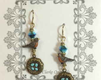 Robin Nest Earrings - with Hand Painted Robin + Nest
