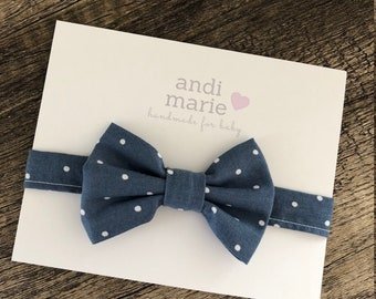Baby Bow Tie, Blue and White Dot