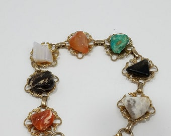 Charming Natural Precious Gemstone Bracelet with Gold Accents
