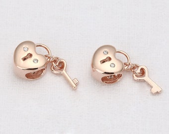 Cubic Heart Lock and Key Pendant Polished Rose Gold -Plated- 1 Pieces [TT0038-RG]
