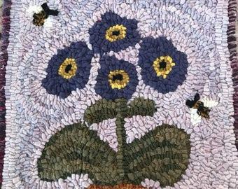 Purple flowers primitive hooked rug mat ooak