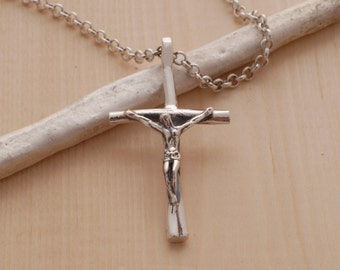 Silver crucifix etsy sterling silver crucifix necklace for men or women jewelry for christians handmade crucifix pendant aloadofball Choice Image