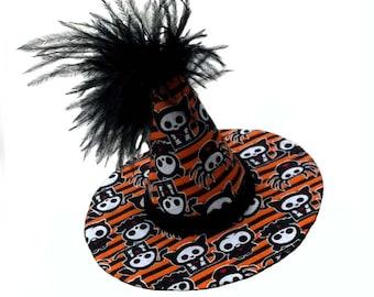 Skelanimals Witch Hat Mini, Black, White, Orange Halloween, Spiders, Owls, Kittens, Puppies