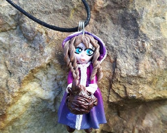 """Necklace """"ZOÉ"""" girl and her tiny turtle made of polymer clay."""