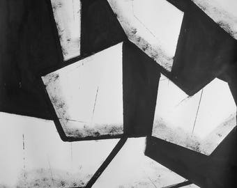 """A2 Original Modern Abstract Black and White Ink Wash Painting 16.5x23.4 """"Untitled 2053"""""""