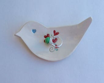 Valentine, Ceramic Hand Built  bird shape dish / Plate,  bouquet of red hearts