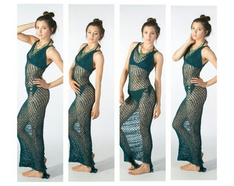 crochet maxi with chained back detail beach cover - net maxi - The Mermaid swimsuit cover up