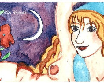 Aprhrodite Goddess ACEO Watercolor Painting Greek myths Greek Mythology Goddess of love Goddess of beauty ACEO Art