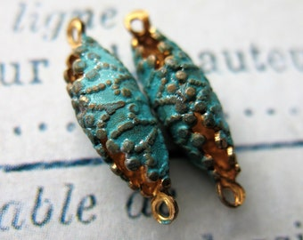 Vintage Filigree Brass Pods in Blue Shimmer - 1 pair - 16 by 6mm Connectors