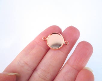 12mm Rose Gold plated bezel connector settings, pick your amount, B133
