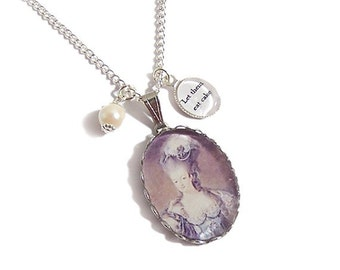 Marie Antoinette charm necklace Let Them EAT CAKE pendant