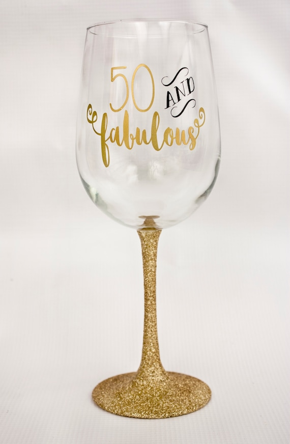 50 and Fabulous Glitter Dipped Wine Glass/Birthday Gift/Birthday Party/Gold and Black