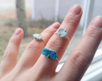 Turquoise Ring - Stacking - Solitaire - Treated and Untreated - Blue Stones