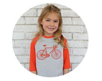 Youth Bicycle Tshirt Hand Screenprinted, 3/4 sleeves, Orange and Heather Grey, Road Bike, Raglan Tee Shirt, Graphic Tshirt, Kids Clothes