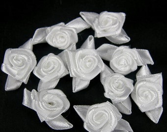 ALL WHITE Rosebuds Roses Wedding Card Embellishments Rose buds card Craft Sewing 25  50 100 500