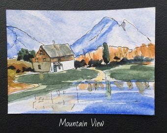 Landscape ORIGINAL Miniature Watercolour Mountain View ACEO Cottage Special Gift Watercolor  For him For her Home decor Wall art Gift Idea