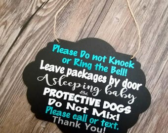 Do not disturb sign, no soliciting, front door sign, New mom gift basket, chalkboard sign, gifts for mom, nursery decor, baby shower gifts