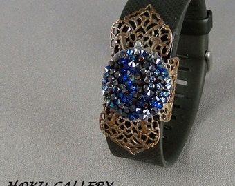 Fit Bit Slide, Jewelry - Swarovski Bermuda Blue Rocks Crystal, Natural Brass Clover Petal Filigree, Wrapped  - Hand Crafted Artisan Jewelry