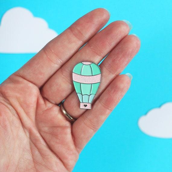 Hot Air Balloon Enamel Pin, Pastel Pin, Limited Edition, Pin Badge, Lapel Pin, Glitter Enamel Pin,  Hot Air Balloon Pin, Cute Enamel Pin by Etsy