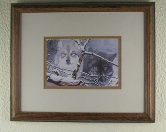 SALE Framed Print of Wolves // Behind Tree Branch // Wolf Lover // Wolf Expert // Wolf Authority // ***WAS 20.00