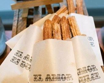 Love is sweet - El Amore Es Dulce Wedding Favor Bags. 20 bags