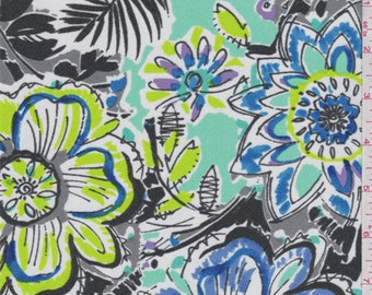 Grey/White Multi Large Floral Crepe de Chine, Fabric By The Yard