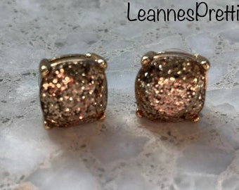 Handmade Gold Glitter Sparkle Earrings | Resin Cabochon Flatback Studs 12mm