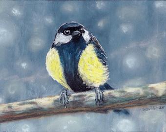 Bird n3. Original pastel painting on sandpaper . Using artists' quality pastels