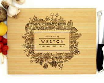 Personalized Cutting Board, 12 x 16 inches, Custom Wedding Gift, Anniversary, Customizable Flower Frame, Housewarming Gift, Rustic Wedding