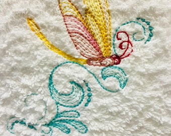 Hand Towel - Embroidered Dragonfly