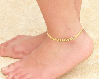 Textured Golden Chevron Anklet ~ Arrow Anklet ~ Fishbone Anklet ~ Foot Jewelry ~ Summer Jewelry ~ Bridesmaid Gift ~ Beach Wedding