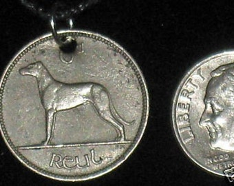 Authentic  Irish  Wolfhound / Greyhound /Harp  Coin Pendant Necklace