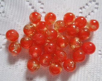 26  Tomato Red & Clear Sparkle Glitter Round Acrylic Beads  9mm