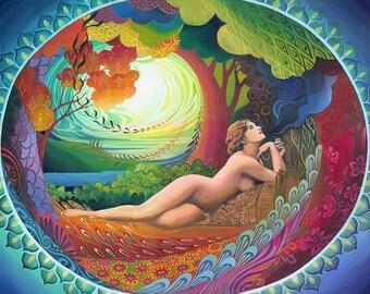 Nepenthe Goddess of Bliss 11x14 Print Pagan Mythology Psychedelic Bohemian Gypsy Witch Goddess Art