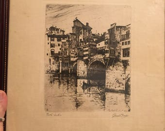 Ponte Vecchio Venice Italy Etching By Joseph Pennell