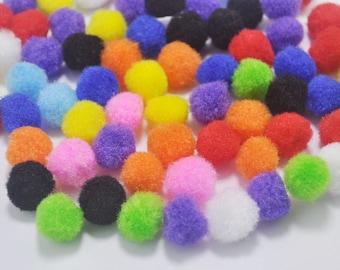 50pcs Pom Poms, Mixed color Pompoms, 15mm, Craft Supply Kit,Pompom Balls, Pom Pom Balls, Fiber Balls, Fiber Pompoms,toy eye accessories