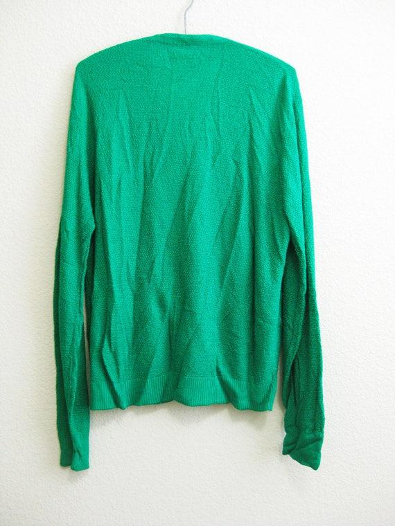 Green Cardigan Sweater Large V-Neck Button Down USA Puritan Capriseta q8qTFM