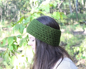 Green Headband, Green Earwarmers, Green Crochet Headband, Green Winter Headband, Green Ear Warmers, Green Chunky Earwarmers, THE CYPRESS