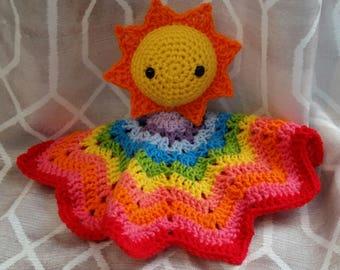 Crochet You Are My Sunshine Lovey Rainbow Lovey Blanket