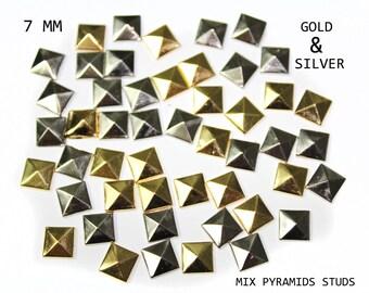 100 MIX 2 Colors Pyramids Studs, Hot Fix Rivets, Glue Iron On Gold Rivets 7 mm