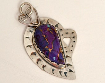 "Valentine sale.  Mojave purple turquoise and sterling silver heart pendant.  ""18 hearts"""