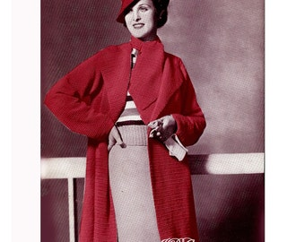 Vintage Coat and Scarf Crochet Pattern ...  Size 34 to 38 ...Instant Download PDF 3305