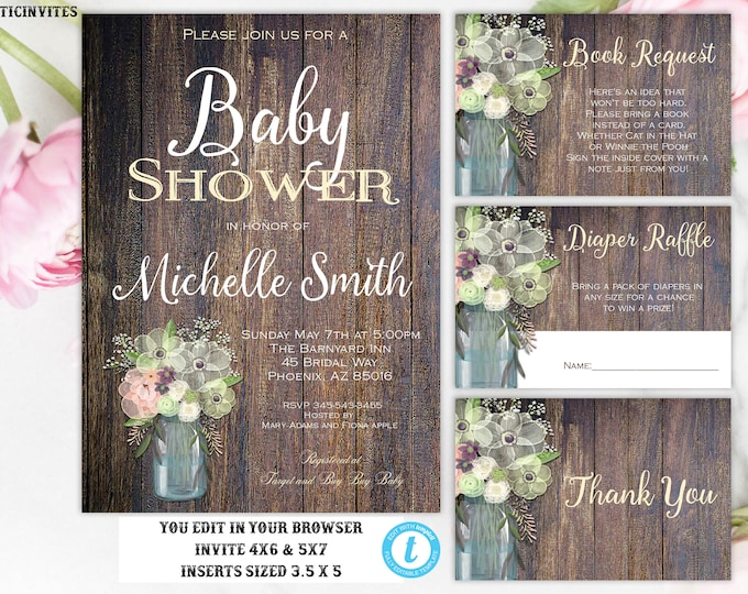 Floral Rustic Baby Shower Invitation Instant Download Editable Printable DIY Template, Baby Shower Invitation, Floral, Boho, Rustic, Girl
