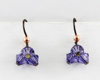 Hand Made Earrings Lavendar Bicones with Niobium Hooks Oscarcrow
