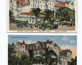 Hotel Halcyon Miami 4 Different White Border Postcards Birds Eye View Cars People