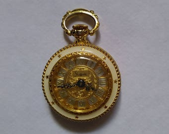 Vintage Lady Sheffield Gold with White Enamel Floral Pendant Pocket Watch 3/0s